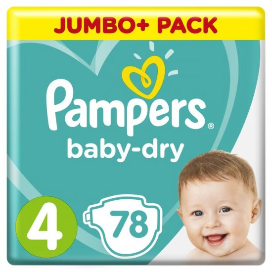 PAMPERS BABY DRY GROESSE 4 ; 5 – 15 KG 78 STUECK PACKUNG - Click Image to Close
